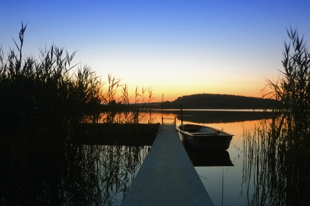 Sunset on a lake in Brandenburg photo