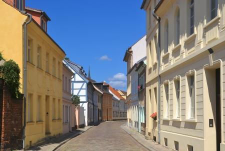 residential idyll: Street in Brandenburg Stock Photo