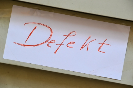 a self-written sign says defect Stock Photo - 21593073