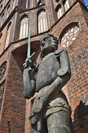 contentious: Roland statue in the old town of Brandenburg