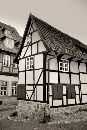 a small half-timbered house in Quedlinburg