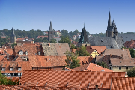 apartment tower old town: View over the old town of Quedlinburg Stock Photo