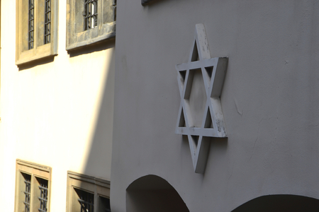 jewish group: Star of David on a facade in Prague