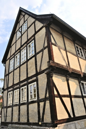 half timbered house: Half-timbered house in Quedlinburg