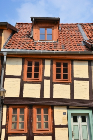 awry: Crooked timber-framed house in Quedlinburg Stock Photo