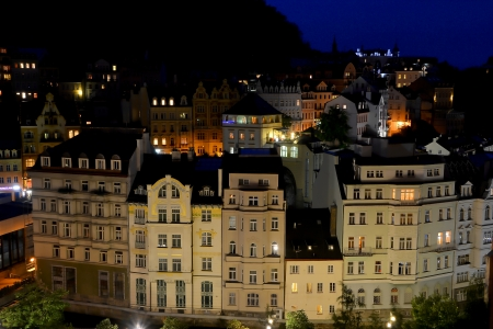 karlovy: Karlovy Vary at night Stock Photo