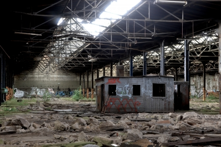 company premises: disused factory in Magdeburg Stock Photo