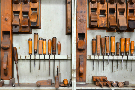 tool cabinet: Tools of a carpenter Stock Photo
