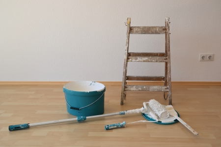 Painting tools on a construction site Stock Photo - 22507065