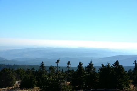 brocken: View from the summit of the Brocken Stock Photo