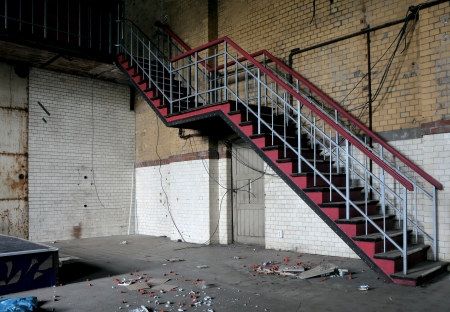 unemployed dismissed: Staircase in an abandoned factory Stock Photo