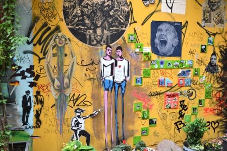 daubed: painted facade in a courtyard in Berlin Editorial