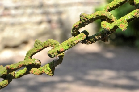 cordoned: very old chain to a fence in a cemetery