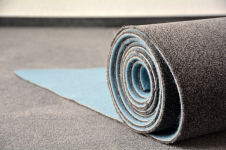 carpet and flooring: a new carpet on a construction site