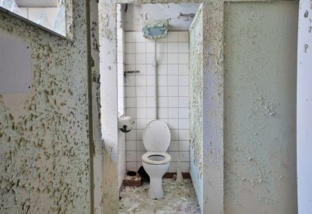 Toilet in a disused factory