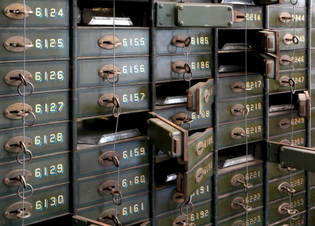 Deposit boxes of a bank photo