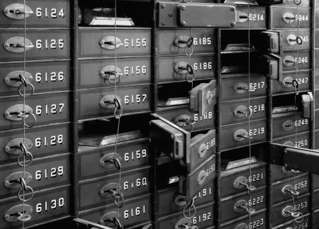 bank vault: Deposit boxes of a bank