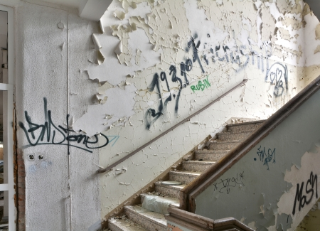 daubed: Staircase in an abandoned building