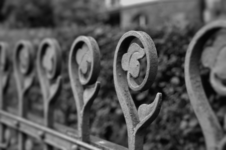 demarcation: old fence in Karlovy Vary in the Czech Republic Stock Photo