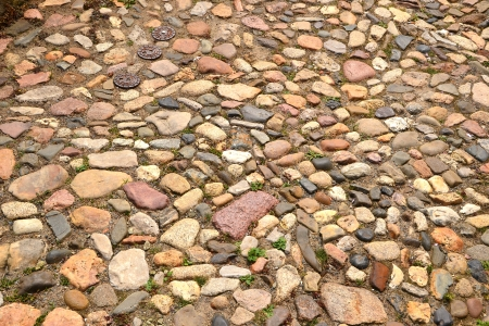 road surface: Cobblestones in a historic street in Quedlinburg