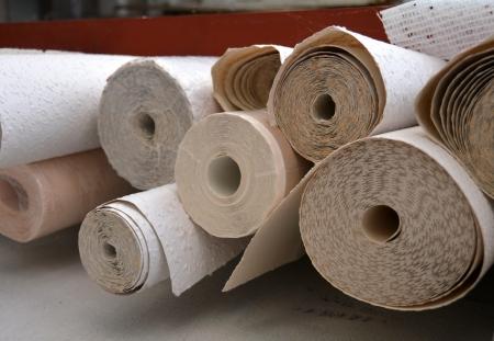 Wallpaper rolls in a warehouse