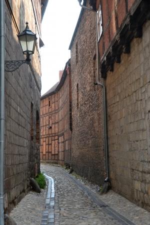 living idyll: narrow alley in quedlinburg Stock Photo