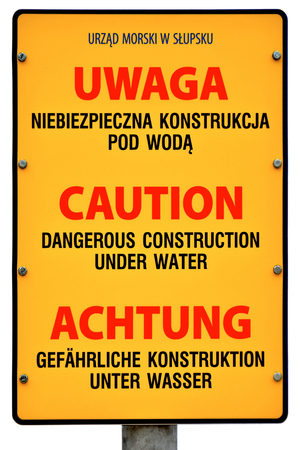 life threatening: Warning sign on the Polish Baltic Sea beach