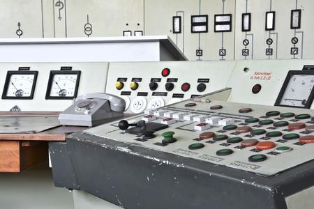 control panel lights: Control center in the disused lignite opencast Ferropolis Stock Photo