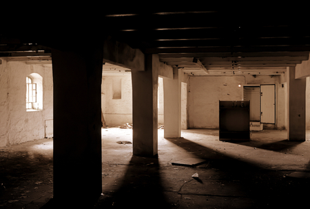 past production: dark room in a disused brewery