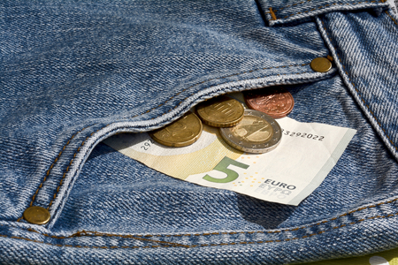 Money in the pocket of a jeans Stock Photo
