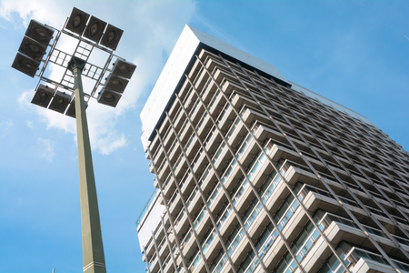 Street lamp and high-rise building in the center of Berlin