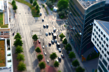 hectic: traffic at a road junction in the downtown Berlin Stock Photo