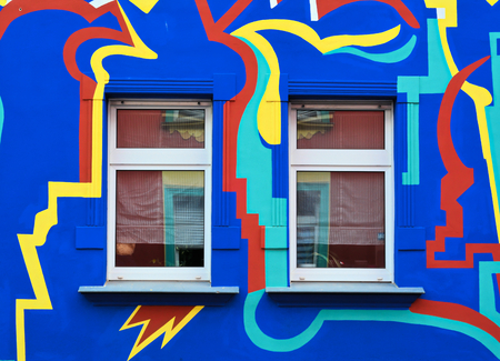freaked out: Colorful facade of a residential building in a street in Magdeburg Stock Photo