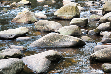 Rocks in river Bode in the Harz National Park Stock Photo