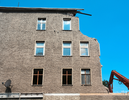 old partially collapsed house in the old town of Magdeburg
