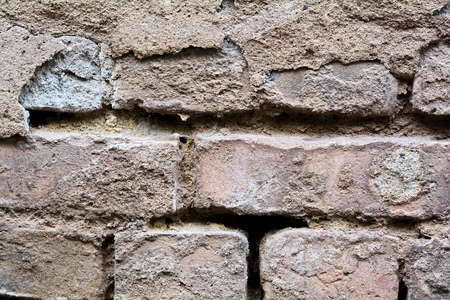 fronts: Brickwork of a derelict house Stock Photo