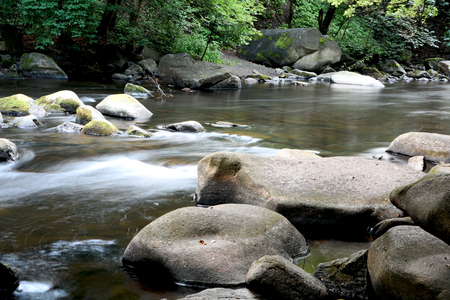 the romantic mountain stream Bode in the Harz National Park Stock Photo