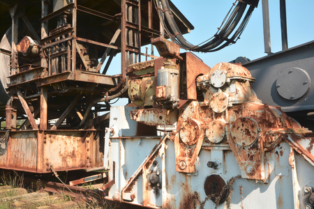 Detail of an excavator in the open pit Ferropolis Stock Photo