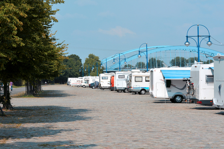 Campers on the banks of the Elbe in Magdeburg