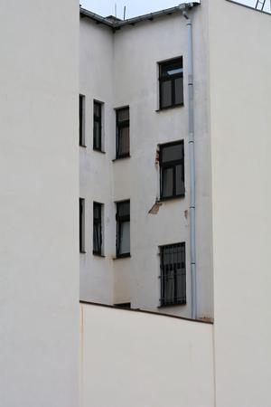 apartment shortage: Facade of a house in a backyard