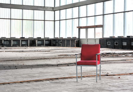 abandoned room: abandoned dilapidated event room Stock Photo