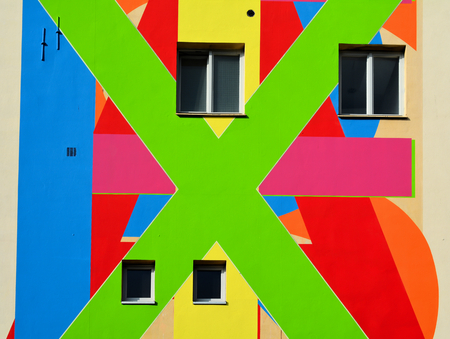 freaked out: colorful facade of apartment building in Berlin
