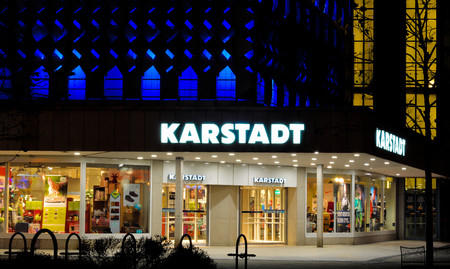 MAGDEBURG, GERMANY - November 13, 2014: Karstadt branch in Magdeburg at night