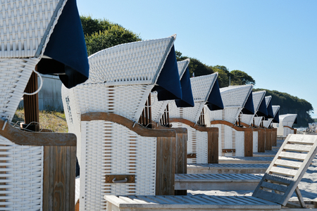 beach chairs: Beach chairs in Heiligendamm on the Baltic Sea Editorial