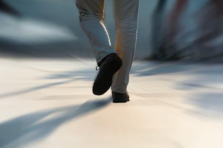 walking zone: pedestrian in a hurry