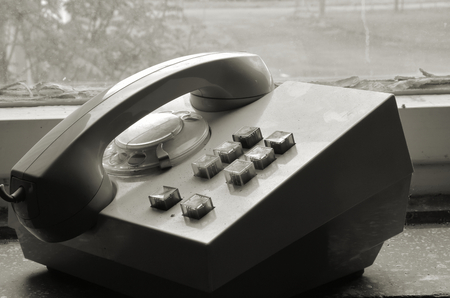 old phone in a disused factory