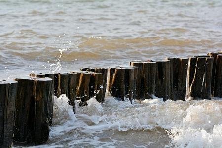 groyne: on the Baltic Sea beach at Heiligendamm Stock Photo