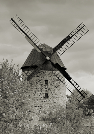 natural force: old historic windmill in Warnstedt in the Harz