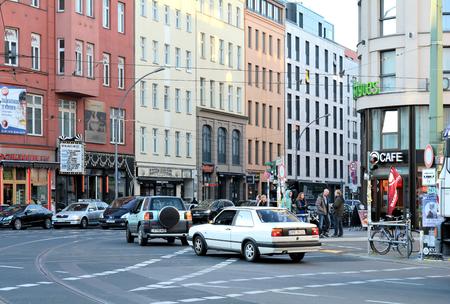 hustle: BERLIN, GERMANY - OCTOBER 28, 2014: road traffic at Rosenthaler Platz in Berlin Editorial