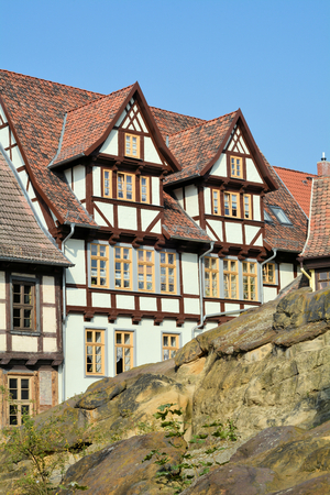 renovate old building facade: historic timbered houses in the Old Town of Quedlinburg